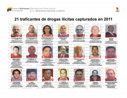 21 traficantes de drogas ilícitas capturados en 2011