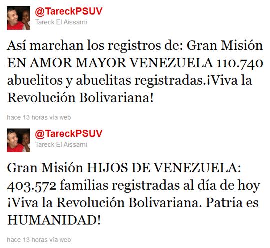 de la Gran Misión EN AMOR MAYOR y la Gran Misión HIJOS DE VENEZUELA