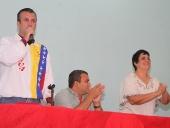 Tareck El Aissami se reúne con educadores aragüeños. 24 de enero de 2014