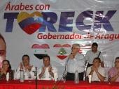 Tareck El Aissami fue declarado hijo ilustre de la comunidad árabe de Aragua en un acto celebrado en el Centro Social Cultural Sirio de Venezuela ubicado en Maracay. 17 de noviembre de 2012.