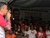 Tareck El Aissami sostuvo un encuentro con representantes de los 25 frentes de motorizados y motorizadas de Aragua. Anunció la creación de una escuela para la formación integral de este sector. 5 de diciembre de 2012.